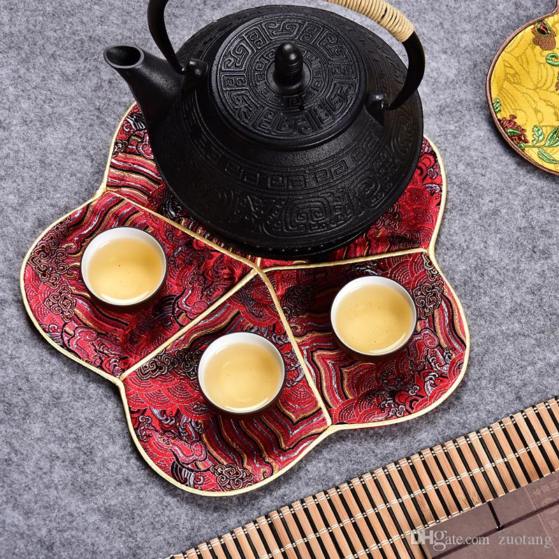 Luxury Cherry blossom Tea Coaster Dining Table Cup Mat Chinese Silk Vintage Coffee Placemat Fashion Simple Protective Pad 26x26 cm