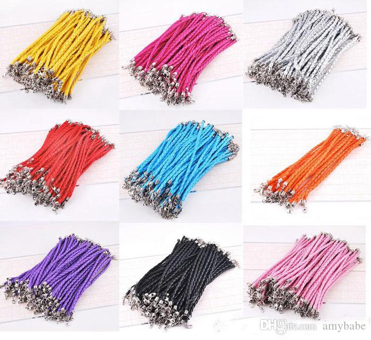 100 Pcs / lot 20 + 5 cm En Cuir PU Tressé Charme Chaîne Bracelets Amour Pour Bijoux DIY Perle Homard Fermoir Lien Chaînes