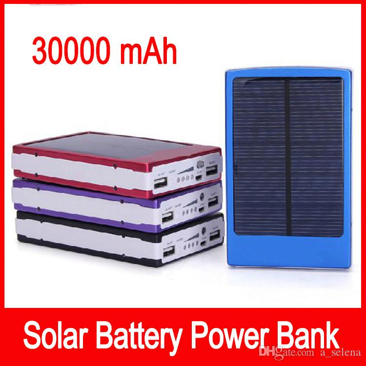 30000 mah Solar Battery Chargers 30000mAh Portable Double USB Solar Energy Panel Power Bank For Mobile Phone PAD Tablet MP3 MP4