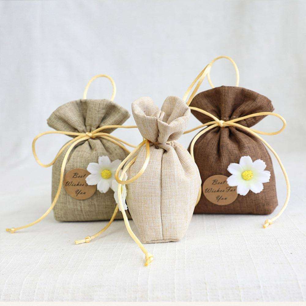 20pcs Flower Gift Bags Wedding Christmas Birthday Candy Bag Drawstring Pouch Sachet Bag Best Wishes to You Cotton Linen Tea Bag