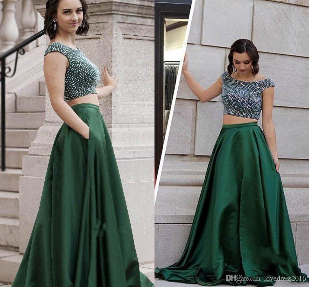 Mütevazı İki Adet Gelinlik Modelleri Kapaklı Scoop Boyun Boncuklu Fermuar Geri Abiye giyim Uzun Saten A Hattı Elbise