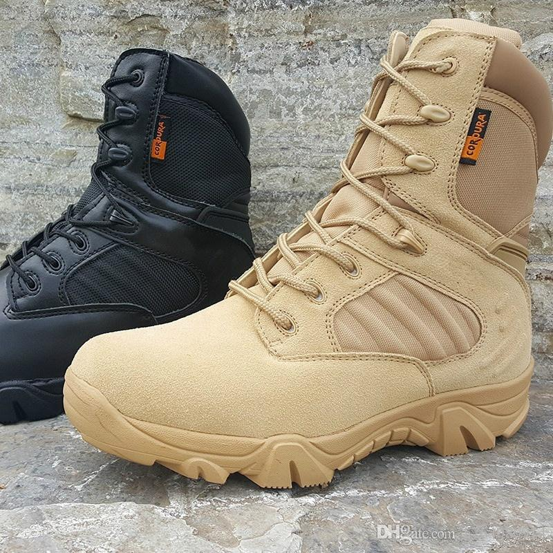 Army Boots Zipper Design Tactical Boots Delta Shoes Black Military Boots Outdoor Hiking shoes Travel Botas