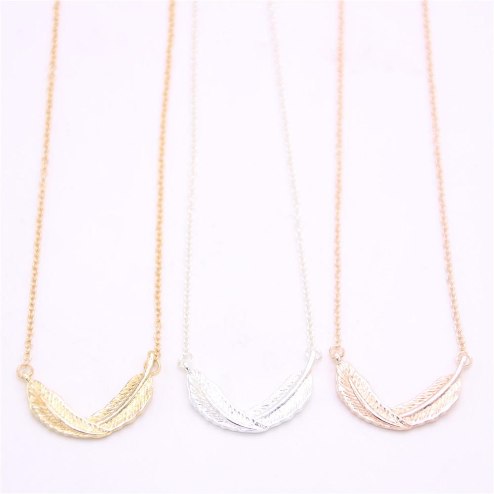 Die neuesten Elemente lockige Feder Anhänger Halskette Life-like Feder Anhänger Halskette für Frauen Einzelhandel und Großhandel Mix