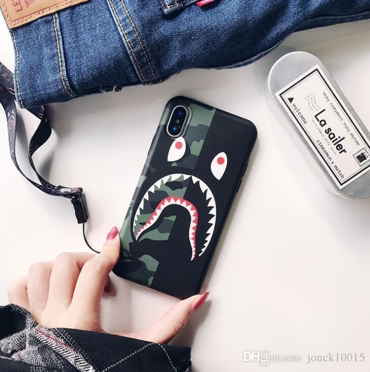 Gezeitenmarke Tarnung Haifischmund für iphone XS MAX Handyoberteil iPhone8 Mattpaar 6s / 7 kreatives Schlüsselband TPU-Poptelefonbuchsen