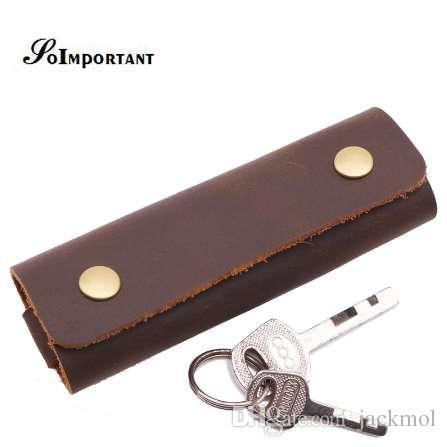 Vintage Echtem Leder Männer Schlüsselmappe Haushälterin Handgemachte Schlüsselhalter Männlich Schlüssel Tasche Fall Crazy Horse Pouch Schlüssel Organizer