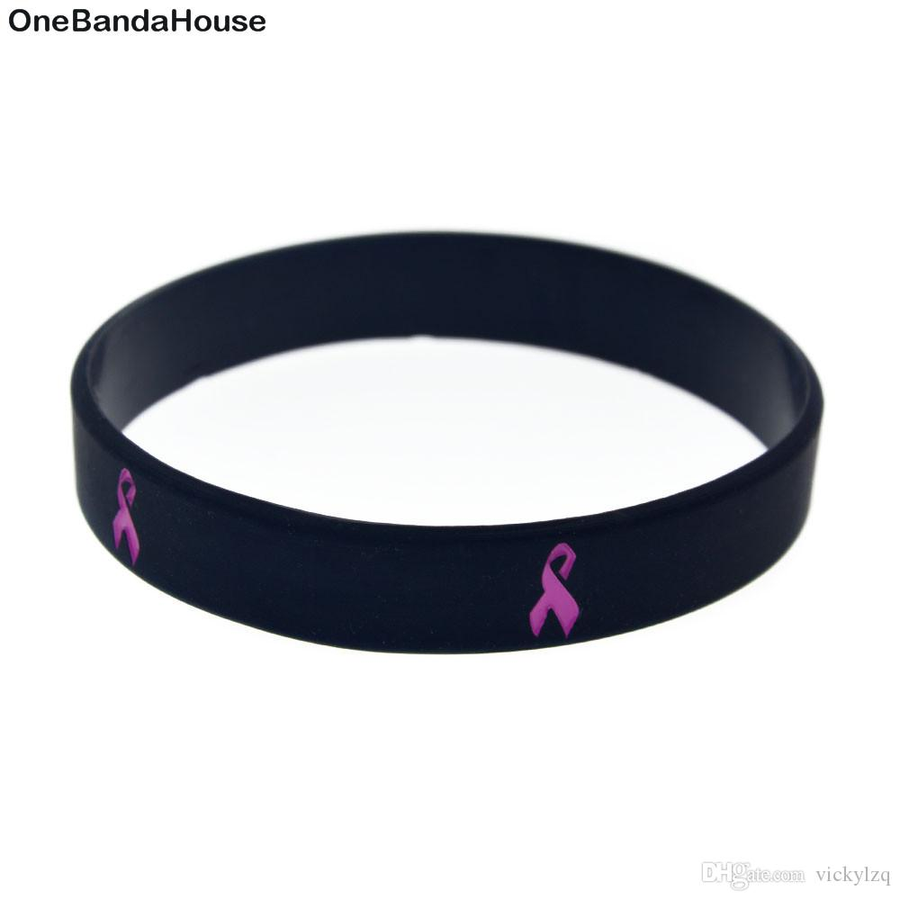 100PCS Debossed Cancer Ribbon Silicone Rubber Wristband Adult Size Carry This Message As A Reminder in Daily