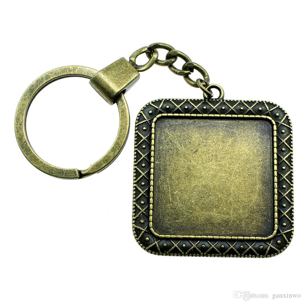 6 Pieces Key Chain Women Key Rings Fashion Keychains For Men X Single Side Inner Size 30mm Square Cabochon Cameo Base Tray Bezel Blank