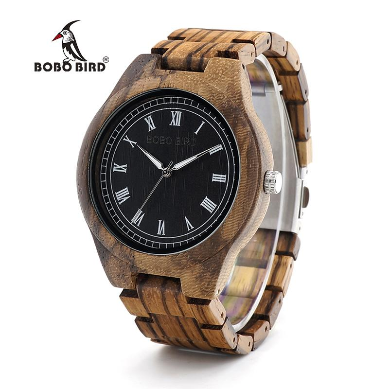 BOBO BIRD WO18O19 Wood Watch Ebony Zebra Wooden Watches for Men White Roman Number Quartz Watch with Tool for Adjusting Size S914