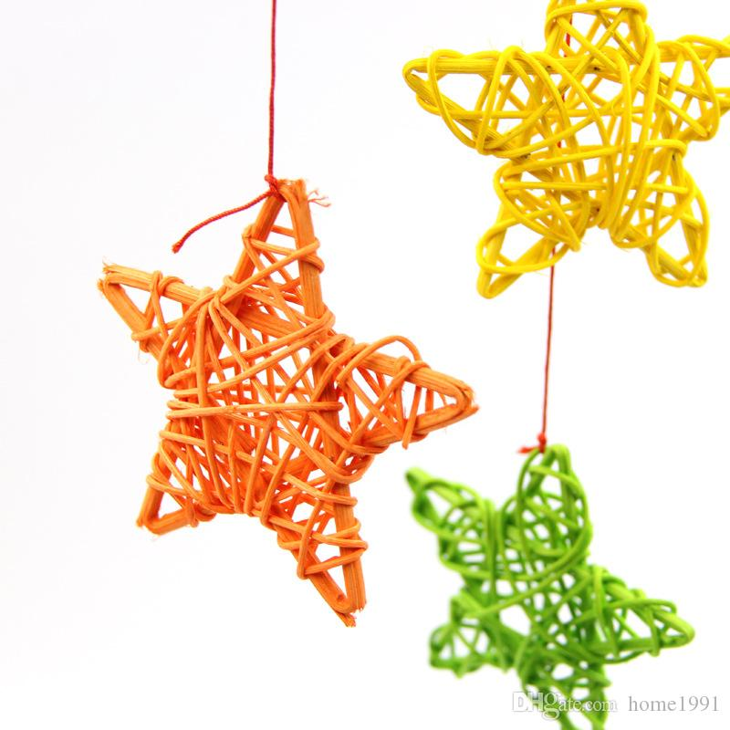 New Home Ornament 6cm Rattan Stars Artificial Straw Ball Birthday Party Wedding Decoration Christmas Decor Five-pointed Star Rattan Ball