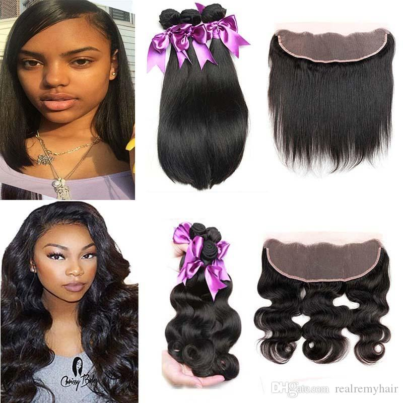 Brazilian Straight Human Hair 3 Bundles With Lace Frontal Closure Cheap Ear To Ear Lace Frontal With Body Wave Virgin Hair Weave Deals