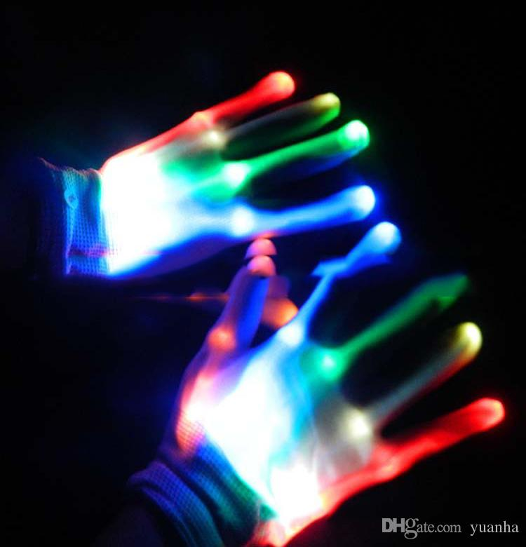 Fashion Funny LED Glowing Gloves New Fancy Gloves Halloween Christmas Creative Gloves Party Props Accessories