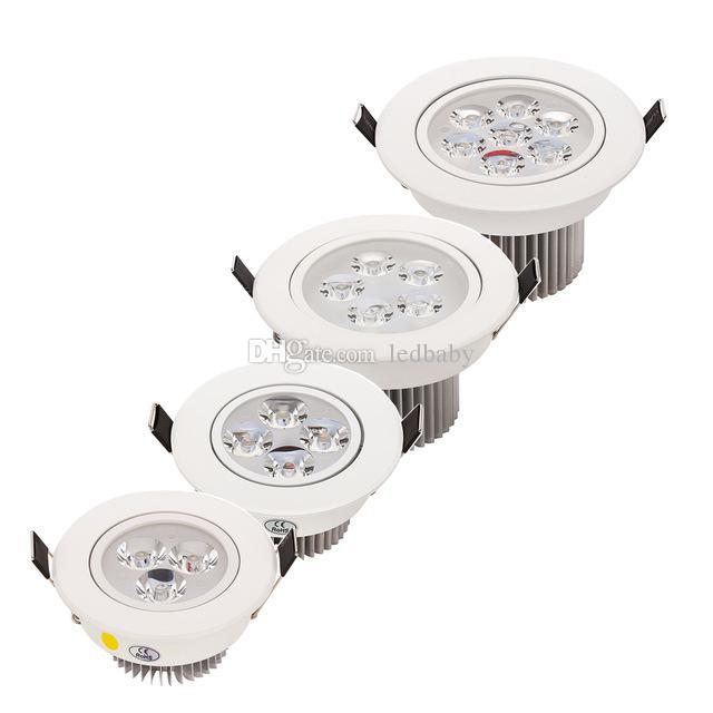 Bianco / Argento Dimmerabile 9W 12W 15W 21W Led Down Downlights ad alta potenza Led Downlights Plafoniere da incasso CRI85 AC 110-240V illuminazione a led