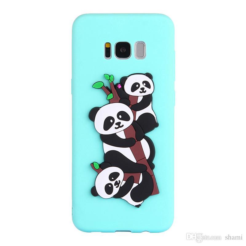 for goophone galaxy j310 s7 edge note 8 s8 plus caus 3d carton cute 3 pandas phone cases silicone soft tpu full cover