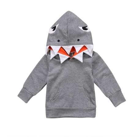 Милый новорожденный малыш дети мальчик девочка акула с капюшоном одежда осень дети с длинным рукавом хлопок пиджаки толстовки Sweateshirt для 1-6Y
