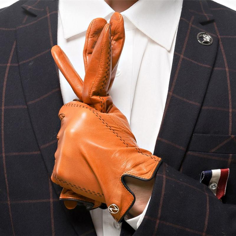 Hombres de moda de cuero genuino guantes hombres guantes otoño más terciopelo negro cálido Nappa de piel de oveja masculina mitones envío gratis