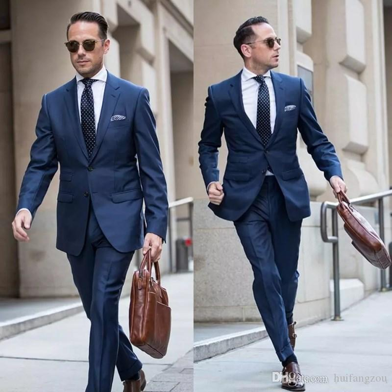 Handsome Navy Blue Slim Fit Tuxedos Peaked Lapel Mens Wedding Suits Two Pieces Groom Wear Cheap Formal Suit Jacket And Pants