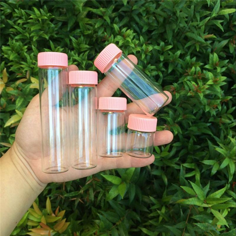 15ml 25ml 40ml 50ml 60ml Cam Şişeler Plastik Kapak Pembe Vidalı Şeffaf Cam şişeler plastik şişeler Kavanozlar Şişeler 50pcs