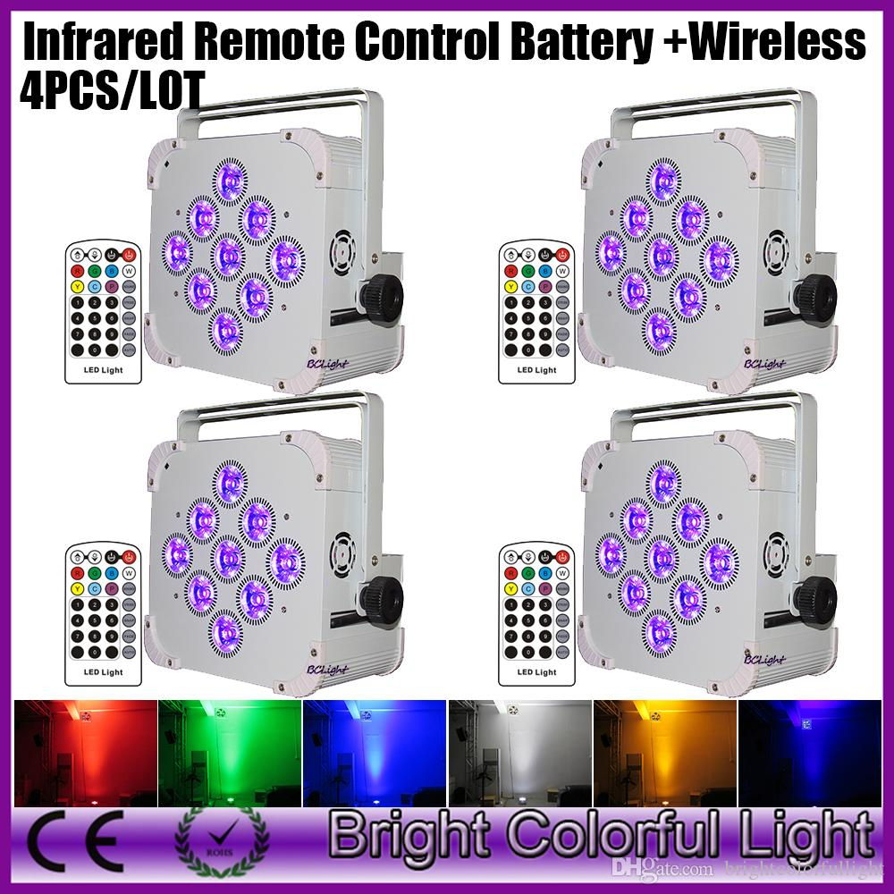 New 4XLOT Wireless DMX Flat Par Can 9pcs x 18w RGBWA+UV 6-in-1 Leds Led Par Light Battery Rechargeable uplight Infrared Remote
