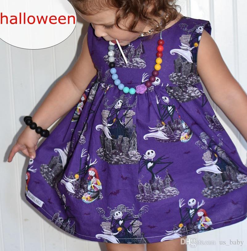 Girl Halloween Summer dress Toddler Girls purple skull Sleeveless Dress Cartoon pattern A-Line Knee-Length Sundress for 2-6Y
