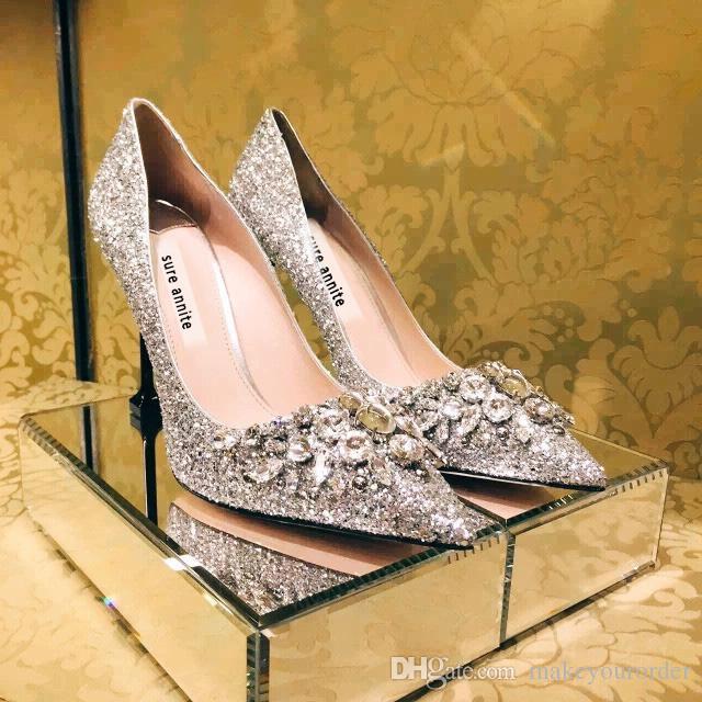 세공 다이아몬드 장식 조각 미세 발 뒤꿈치 높은 뾰족한 발가락 은색 신부의 웨딩 드레스 파티 신발 (482)에 의해 은색 색상 크기 (40)