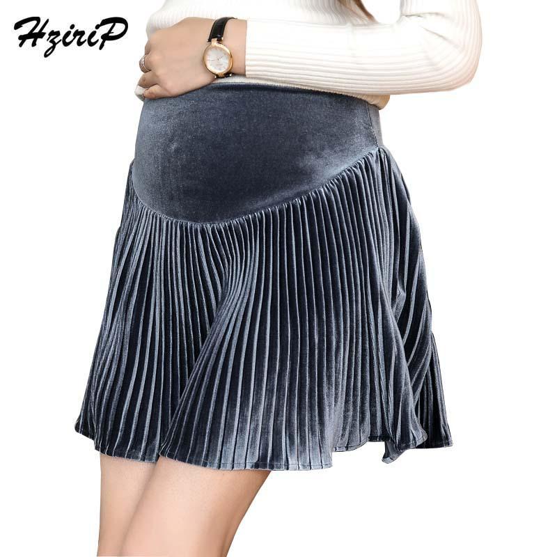 6e97642b87fe3 HziriP New Korean Maternity Pleated Skirts Fashion Gold Velvet Pregnant  Women A-Line Short Skirt High Waist Pregnancy Clothes