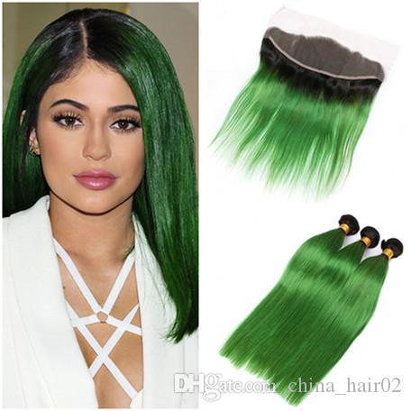 # 1B / الأخضر الداكن الجذر أومبير العذراء البرازيلي الشعر البشري حزم مع إغلاق أمامي مستقيم أومبير الأخضر 13x4 كامل الرباط أمامي مع ينسج