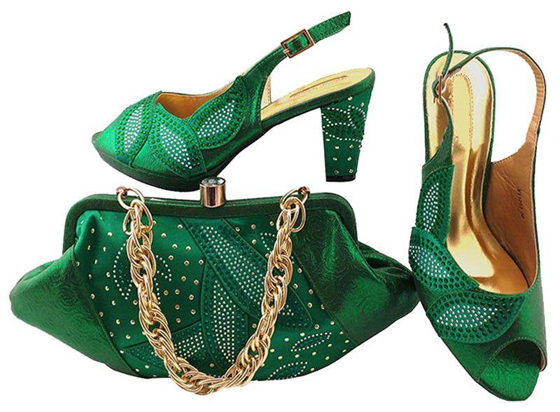 sapatos verdes da moda coincidir com sacos com séries strass sapatos de senhora africanos e conjunto bolsa para vestido MM1043, 8cm calcanhar