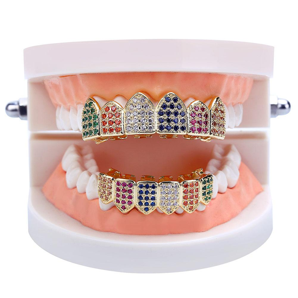 New Colorful cristallo di strass di rame Hip hop grillz Zircone diamante denti Dental Grills dente bretelle Hip-hop Grillz monili del corpo