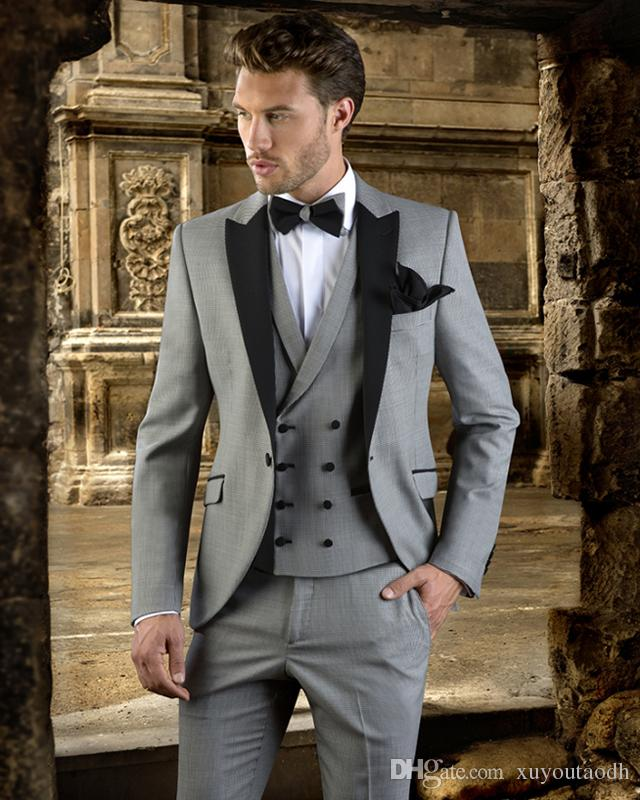 Latest Coat Pant Designs Grey Men Suits Wedding Suits Luxury Formal Custom  Made Tailored Tuxedos Terno Masculino Jacket+Pant+Vest Canada 2019 From