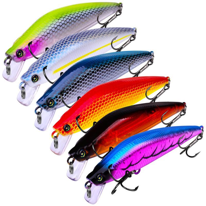 New Fishing Hooks Minnow Hard bait 8g 8cm 6colors Wobbler Swimming Artificial Laser Plastic Fishing Lure