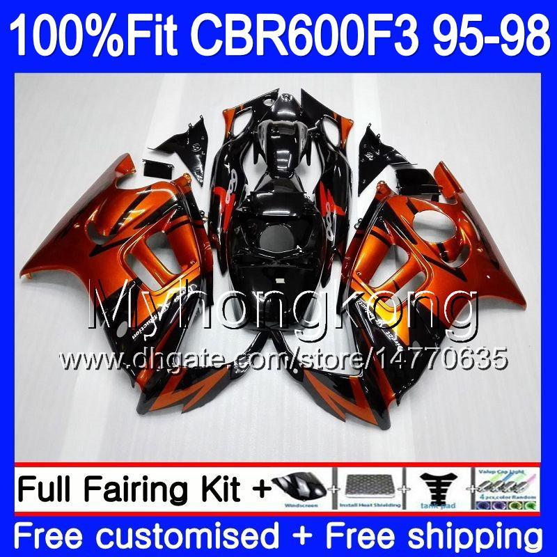 Впрыска для HONDA CBR600RR CBR 600F3 CBR600F3 95 96 97 98 2MY.0 CBR600FS CBR600 F3 FS CBR 600 F3 1995 1996 1997 1998 обтекатель оранжевый черный