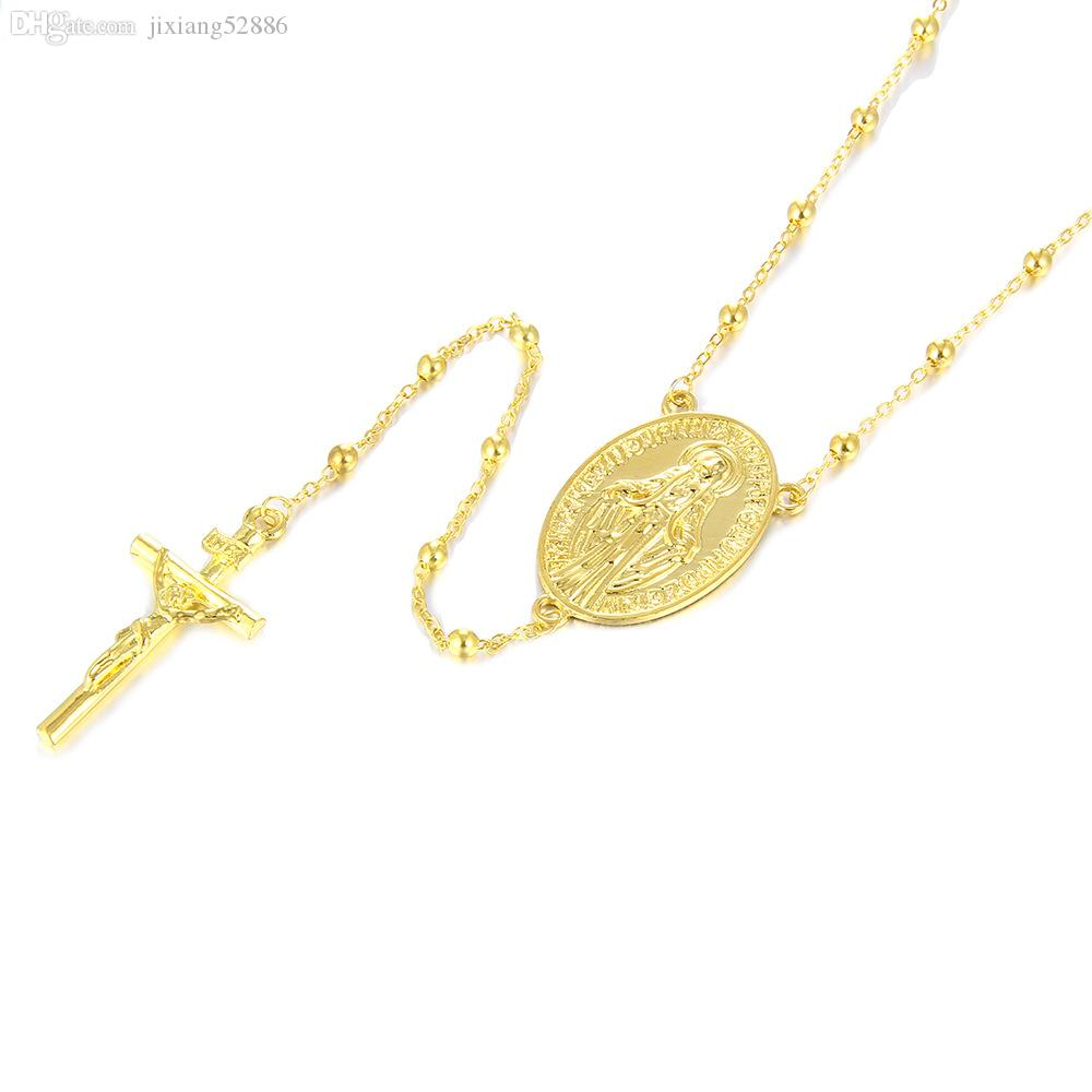 Top vendendo jóias autêntico ouro 18 K ouro Maria cruz de ouro masculino / feminino moda colar de rua camisola cadeia A181 #