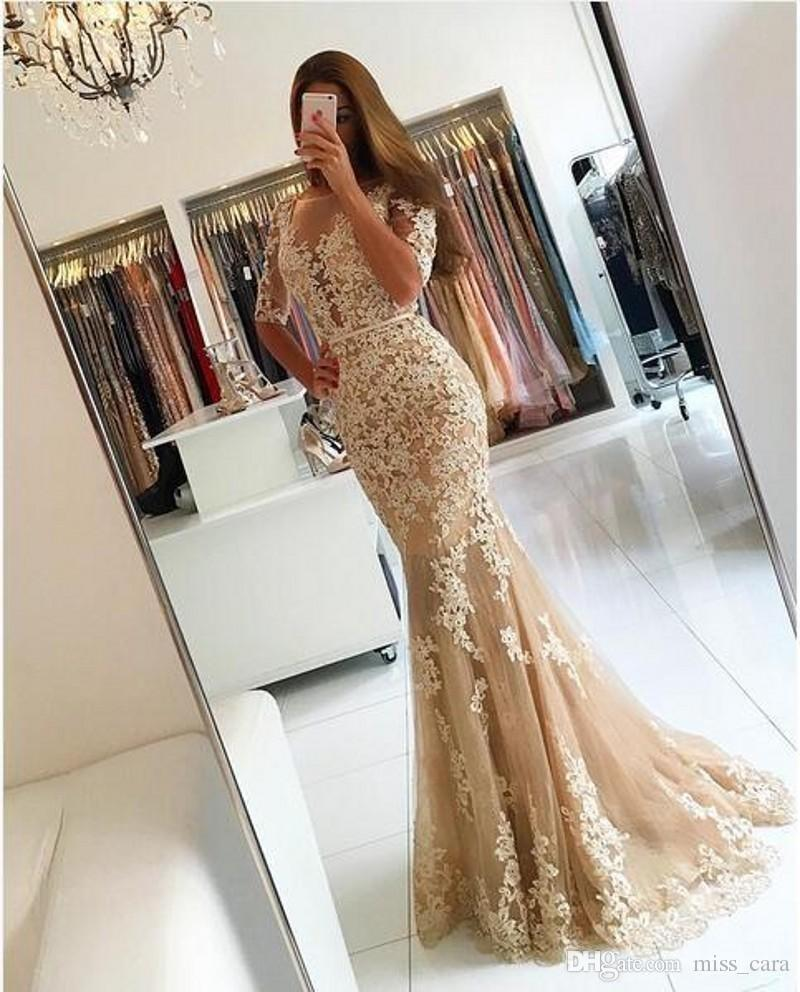 2018 Modest Champagne Mermaid Prom Dresses Long Half Sleeve Sexy Backless Tulle Lace Applique Party Dress Evening Wear