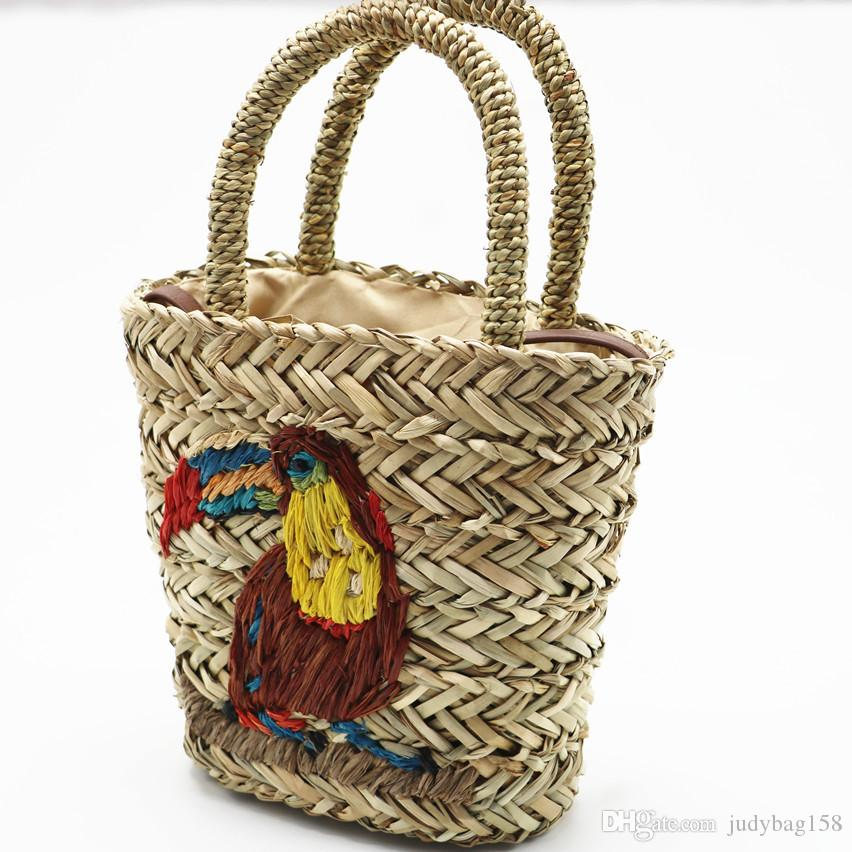2018 wholesale and retail embroidery straw bag summer hand-woven bag women's beach bag