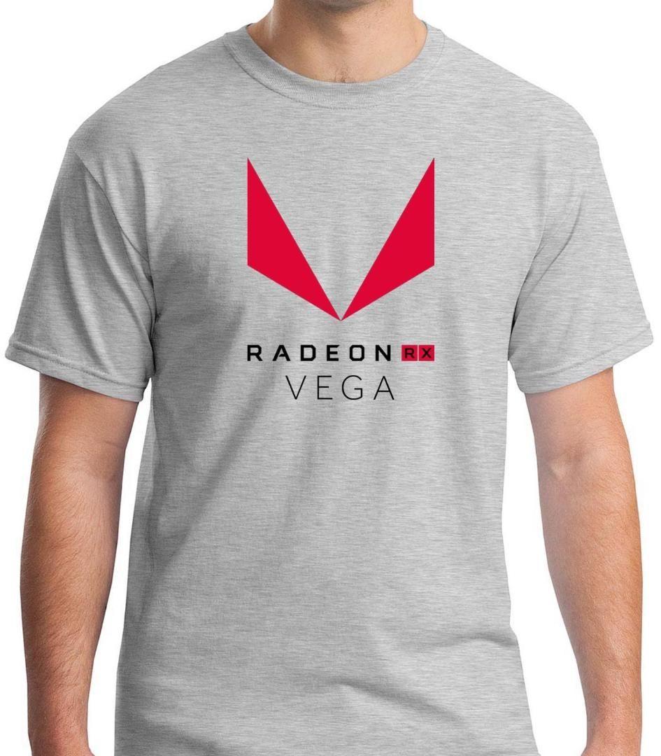 T-shirt gris AMD Radeon Vega RX Processeurs T-shirt homme T-shirt haut en coton imprimé S à 3XL