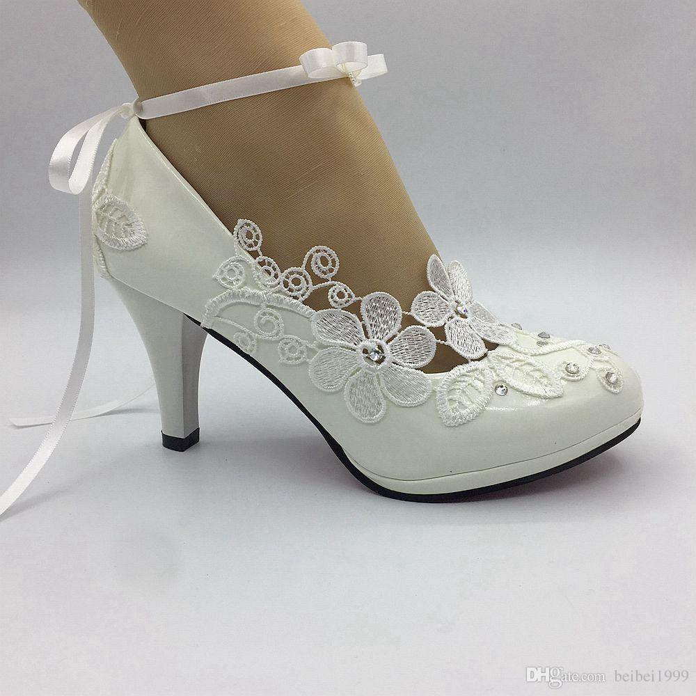 Платье ручной работы белые кружева свадебные туфли ленты свадебные женщины высокие каблуки насосы невесты свадебные каблуки новые