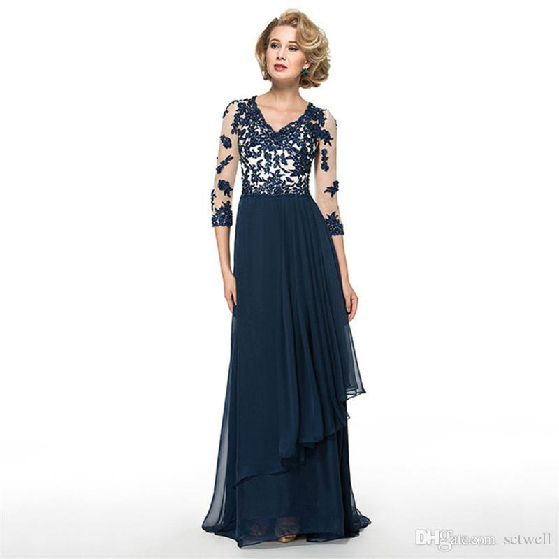 Setwell Elegant Blue Lace Mother Of The Bride Groom Dresses V Neck 3/4 Sleeves Formal Dresses Evening Plus Size Beads Evening Gowns