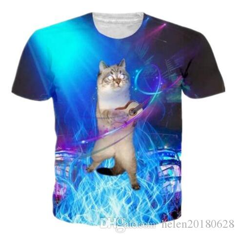 Fashion 3D Creative Galaxy Animal Cat Chest Hair Sexy Printed T Shirts Short Sleeve Summer T-Shirts Quick Dry Tops Tees Clothing