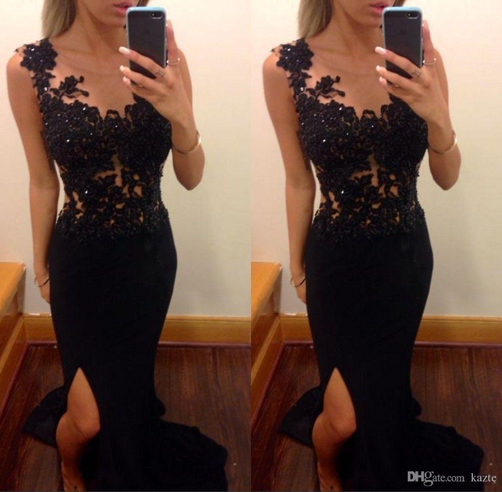 2019 Prom Dresses Long Black Mermaid Sheer Appliques Leg Slit Lace evening Occasions Gowns Sexy Corset Chiffon Fancy Dress For Ladies
