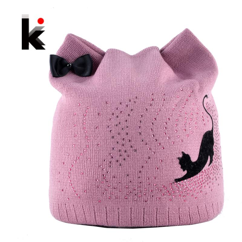 Winter Beanie Hat With Ear Flaps For Women Black Cat Diamond Bow-knot Knitted Beanies Skullies Cap Ladies Touca Inverno Feminina Y18110503