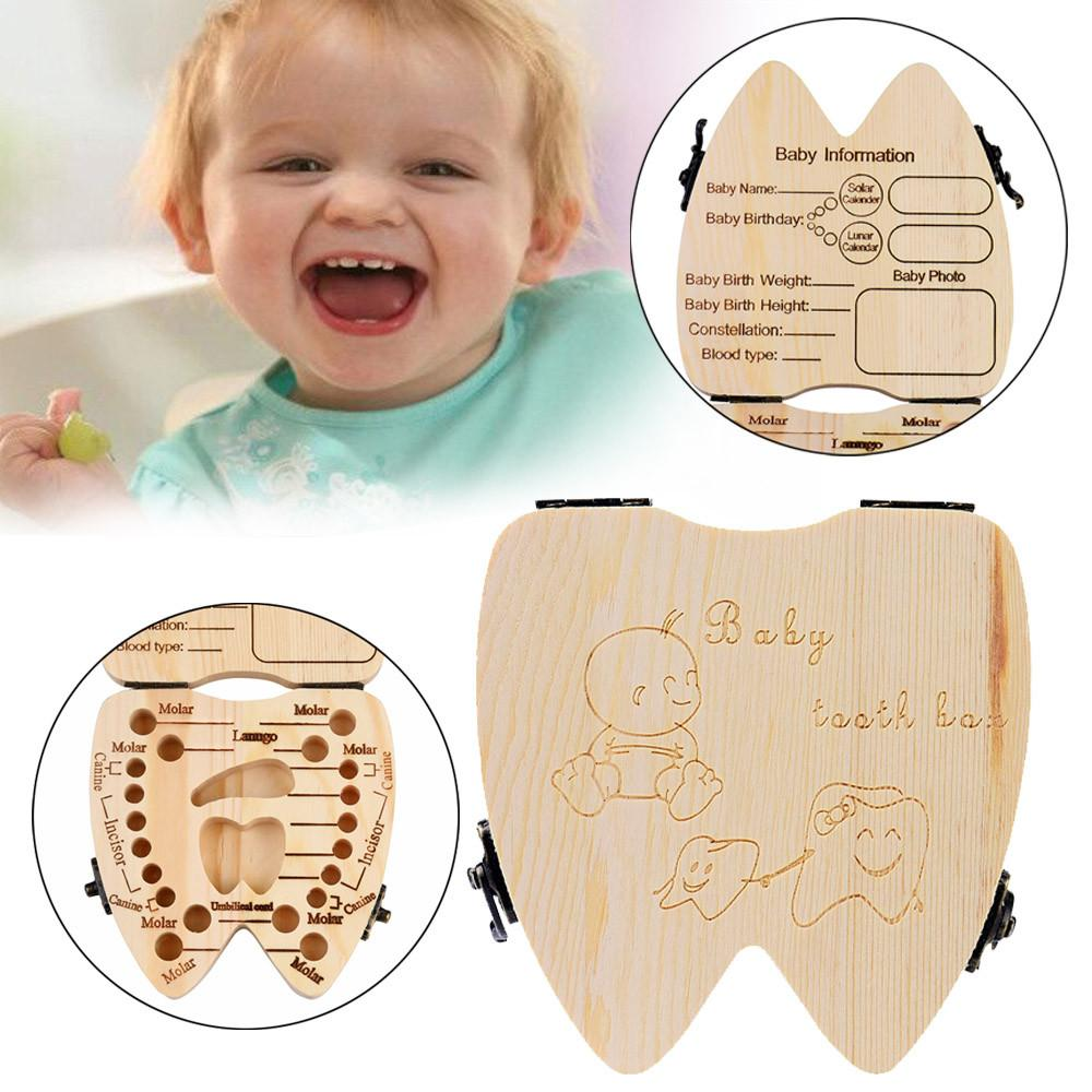 2018 High Quality Baby Tooth Storage Box Wooden Baby Milk Teeth Organizer WT