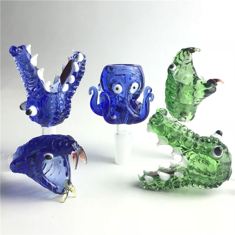 Ciotola animale in vetro Pyrex spesso con 14mm 18mm maschio verde blu serpente polpo coccodrillo erba tabacco bong ciotole per tubi di acqua di vetro bong