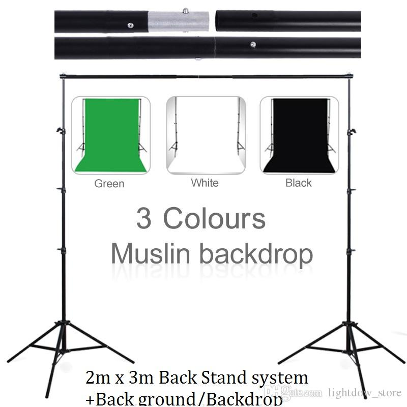 Lightdow 3m X 2m Photography Background Holder Adjustable Muslin Background Backdrop Support System Stand Kit +Cutton Background Backdrop