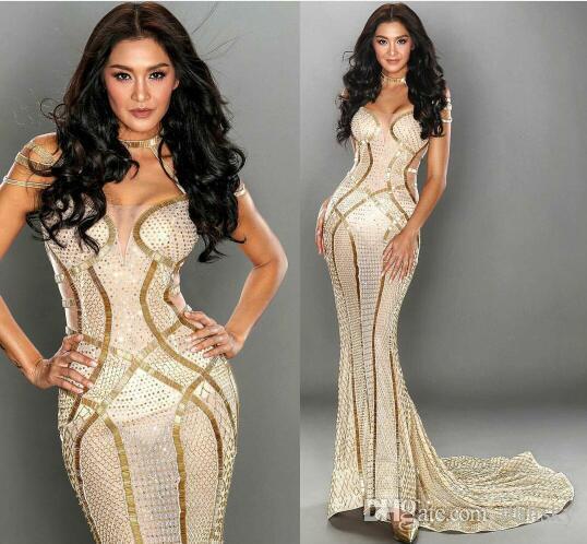 Vestido de noche Yousef aljasmi Kim kardashian O-cuello con cuentas Sirena Vestido largo Especial Almoda gianninaazar ZuhLair murad Ziadnakad
