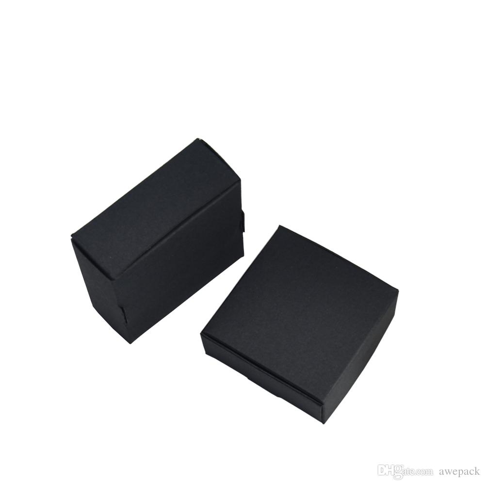50pcs/lot 7.5*7.5*3cm Handmade Soap Packaging Paper Box Jewelry Wedding Party Gift Craft Storage Soft Black Kraft Paper Boxes Packages
