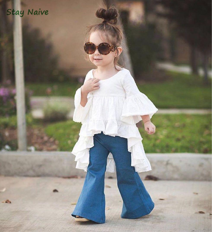 Bleiben Sie naiv neue Mode Mädchen Kleidung Kinderkleidung Märchen Stil Bambus Baumwolle Freizeitjacke + Jeansanzug