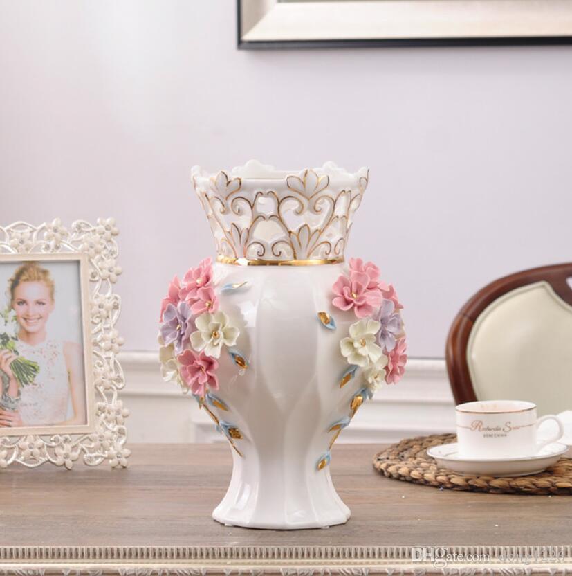 세라믹 레드 화이트 모던 꽃 꽃병 홈 인테리어 웨딩 장식을위한 큰 바닥 화병 세라믹 수공예 인형 인형