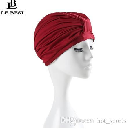New Women Swimming Cap Waterproof PU Elastic Swim Cap Pleated knot Beach Cap Bathing Swimming Hat