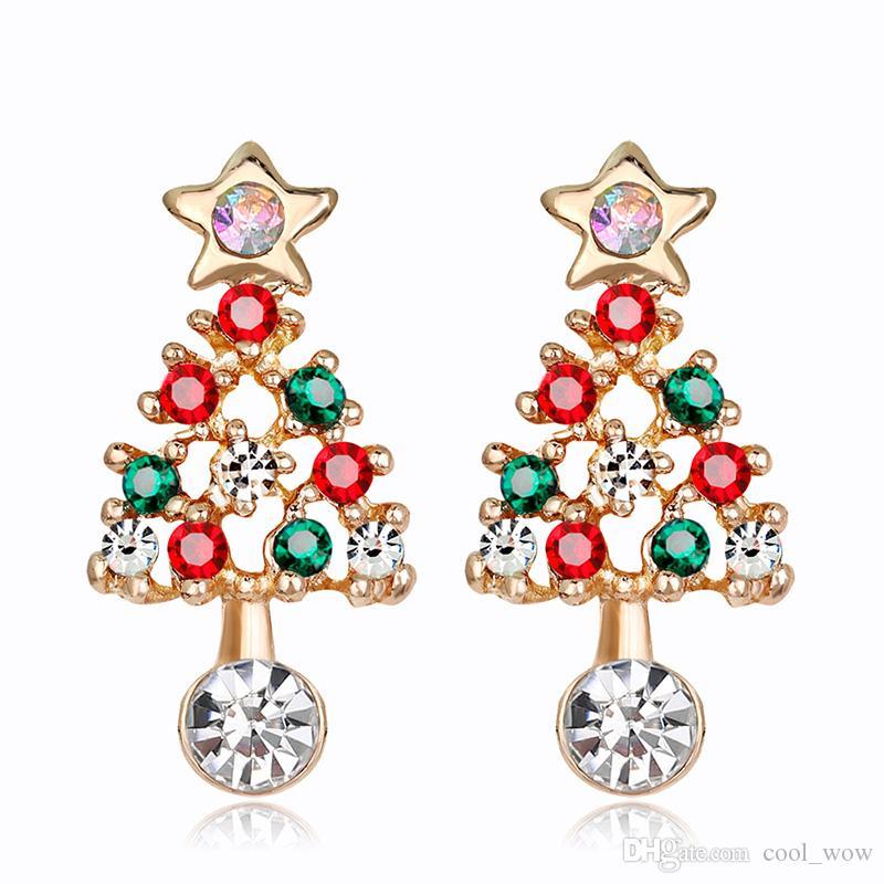 Noel Ağacı Küpe Santa Ağaçlar Kristal Küpe Kadın Kızlar Hediyeler için Kırmızı Yeşil Emaye Ağacı Damla Küpe Parti Takı KC