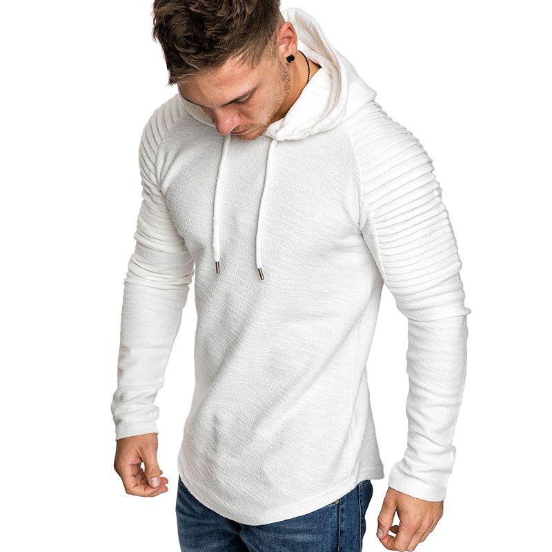 GustOmerD Yeni Hoodies adamın Düz Renk Slim Fit Yüksek Sokak Kapüşonlu Sweatshirt Şerit Fold Spor Mens